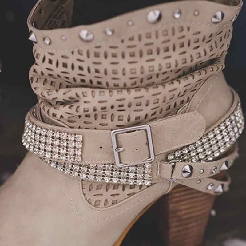 Laamei 2019 แฟชั่นสตรีข้อเท้ารองเท้าเซ็กซี่ Rhinestone Rivet รองเท้าส้นสูงหัวเข็มขัดรองเท้าผู้หญิงรองเท้าขนาด 35- 43