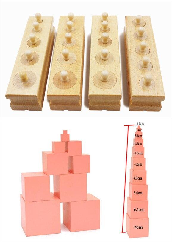 Игрушки для маленьких детей 2 в 1 Монтессори набор разъем цилиндра/Семейный комплект розовый башня здания Конструкторы деревянный Игрушечн...