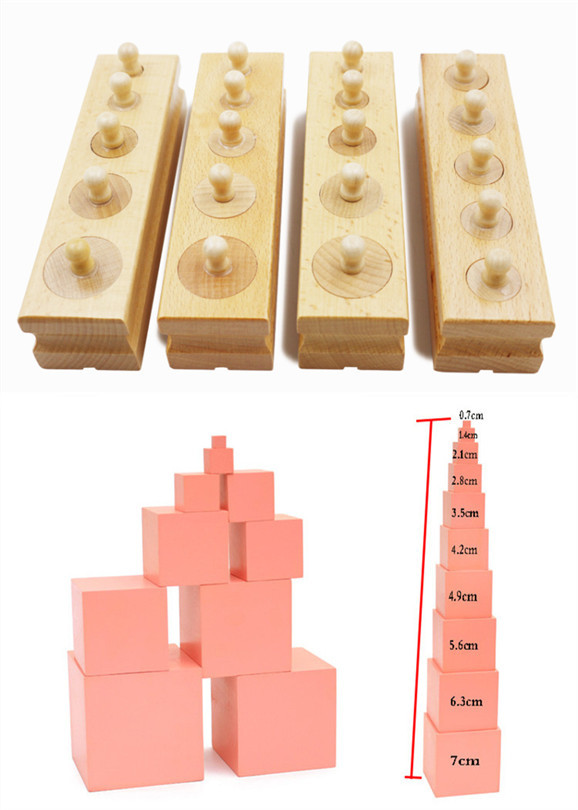 Baby Toys 2 In 1 Montessori Set Socket Of Cylinder Family Set Pink Tower Building Blocks