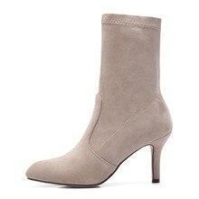 Botas Novas 2018 Mulheres Inverno Stretch Pointy Toe Feminino Salto Alto Bota Chelsea Para A Mulher Outono Tornozelo Sapatos Bota Feminina