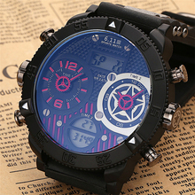 6.11 New Big Dial Men Watch Sport Quartz Led Multiple Time Zone Creative Watches Digital Watch Relogio Masculino