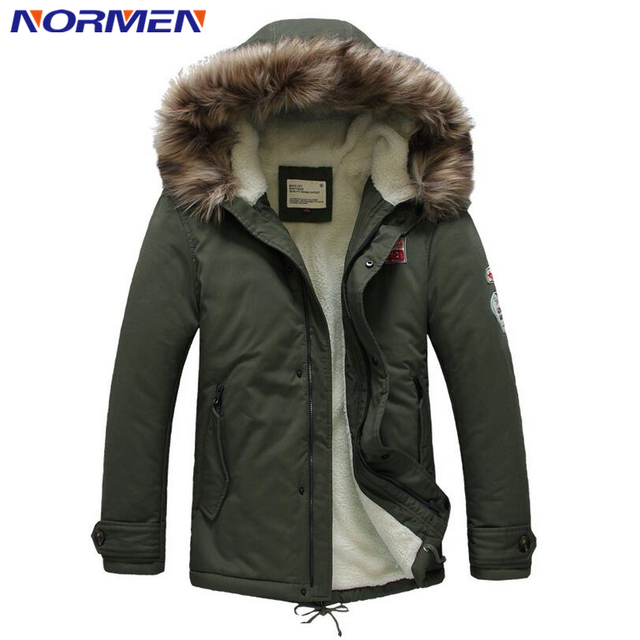 Normen Brand Men's Fashion Padded Fur Collar Fleece Winter Jacket Men