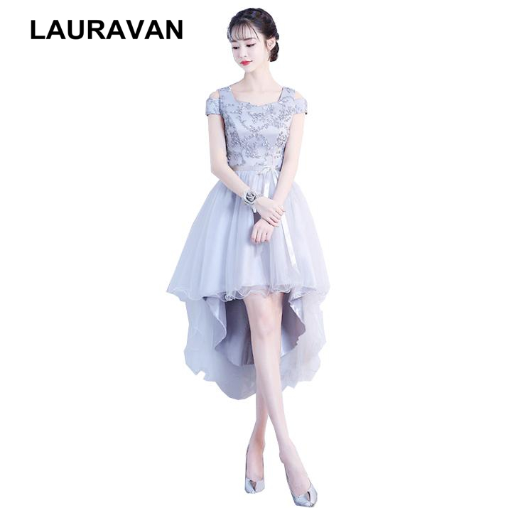 Short Front Long Back High Low Bridesmaid Robe Princesse Adulte Brides Maid Girls Bridemaid Grey Ball Party Dress For Teen 2019