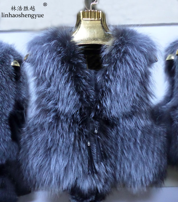Linhaoshengyue New 2015  Winter  Brief Paragraph Real Silver Fox Fur Vest ,real Fox  Fur Coat,Natural Color,real Vest