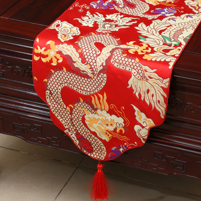 Thicken Dragon Chinese Silk Satin Table Runner High End High density Damask Banquet Table Cloth  Rectangular Table Mat