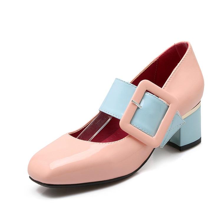Bombas Tamaño 613 rosado Tacones Cuadrada Negro Zapatos 2017 Tacón 34 Dames Mujeres Prom Schoenen Sapato 46 Plataforma blanco Punta Alto Grande Moda Femenino xqw4vHq1