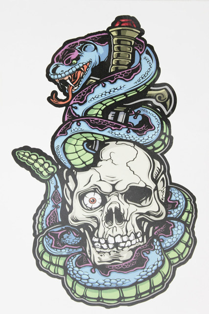 Hiphop Dance Tattoo Skull And Snake 21 X 15 CM Sized Sexy Cool Beauty Waterproof