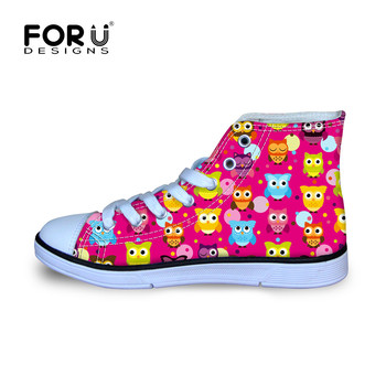 Pink Owl Lace Shoes for Girls Children Yellow Colorful Walking Shoes Outdoor Kids Canvas Playing Owls Party Shoes Printing