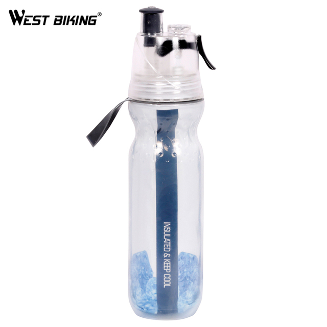 WEST BIKING 500ML Double-Layer Sports Spray Kettle Cycling Sport Water Bottle Bicycle Camping Outdoor Anti-slip Keep Cold Kettle