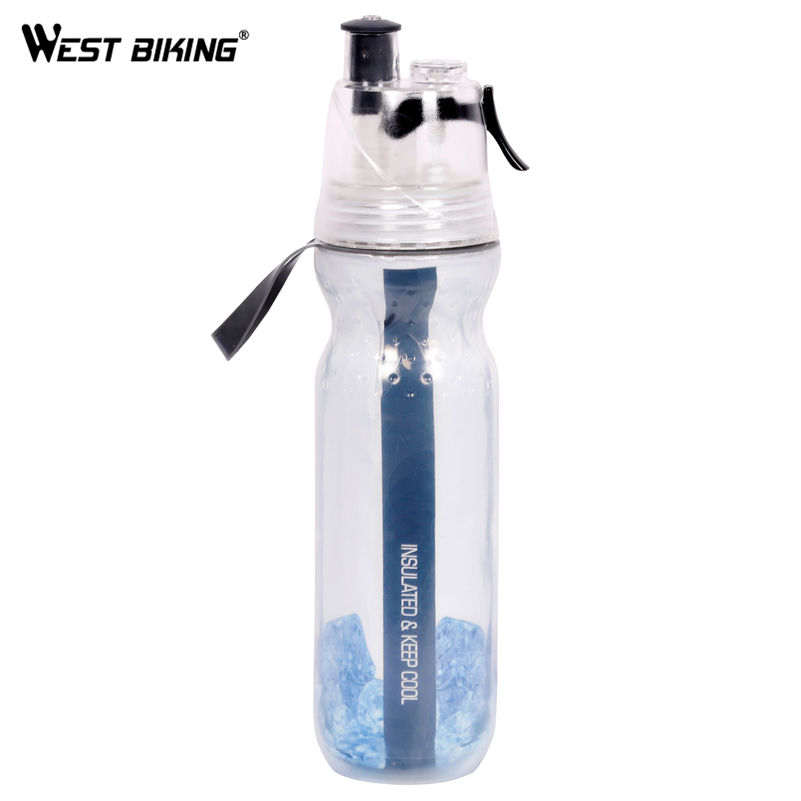 WEST BIKING 500ML Double-Layer Sports Spray Kettle Cycling Sport Water Bottle Bicycle Ca ...