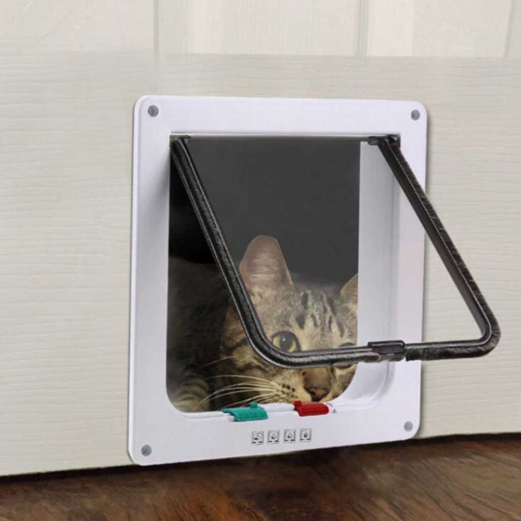 חיות מחמד דלת 4 דרך הניתן לנעילה אבטחת דש דלת עבור כלב חתול חתלתול קיר הר דלת בעלי החיים קטן לחיות מחמד שער דלת ציוד לחיות מחמד S/M/L גודל