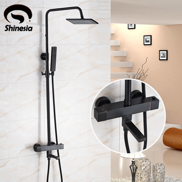 Oil Rubbed Bronze Thermostatic Shower Faucet Sets 8 Inch Square ...