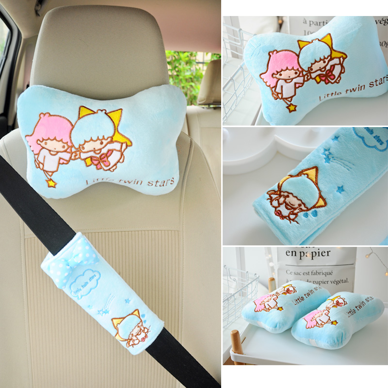 Калъф за кола с кола плюш покритие Възглавница за кола за масаж на врата Декоративна карикатура плюшена възглавница за кола
