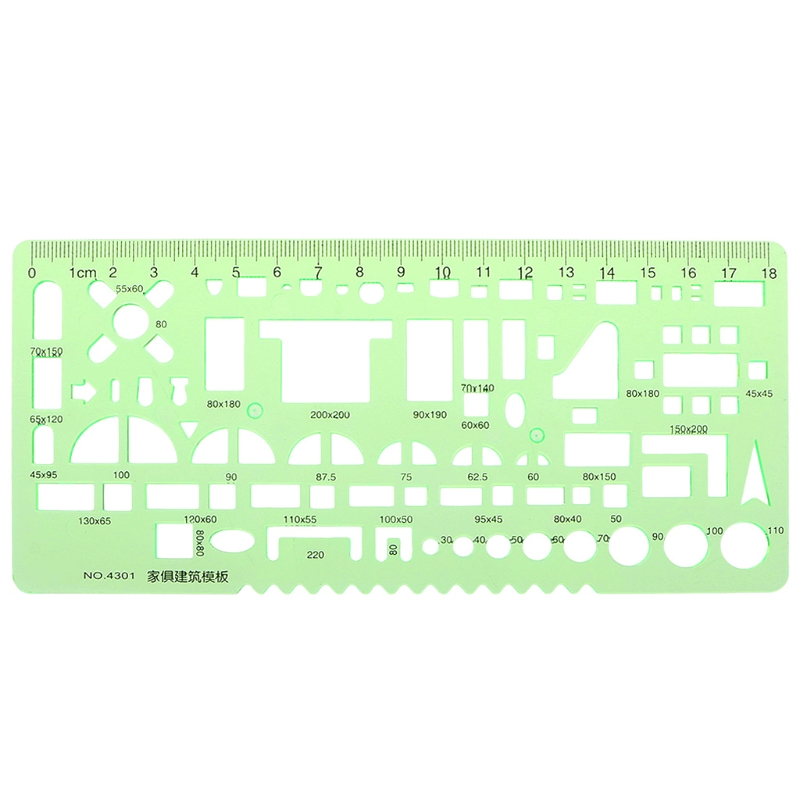 Furniture Construction Black Scale Drafting Drawing Stationery Template Ruler