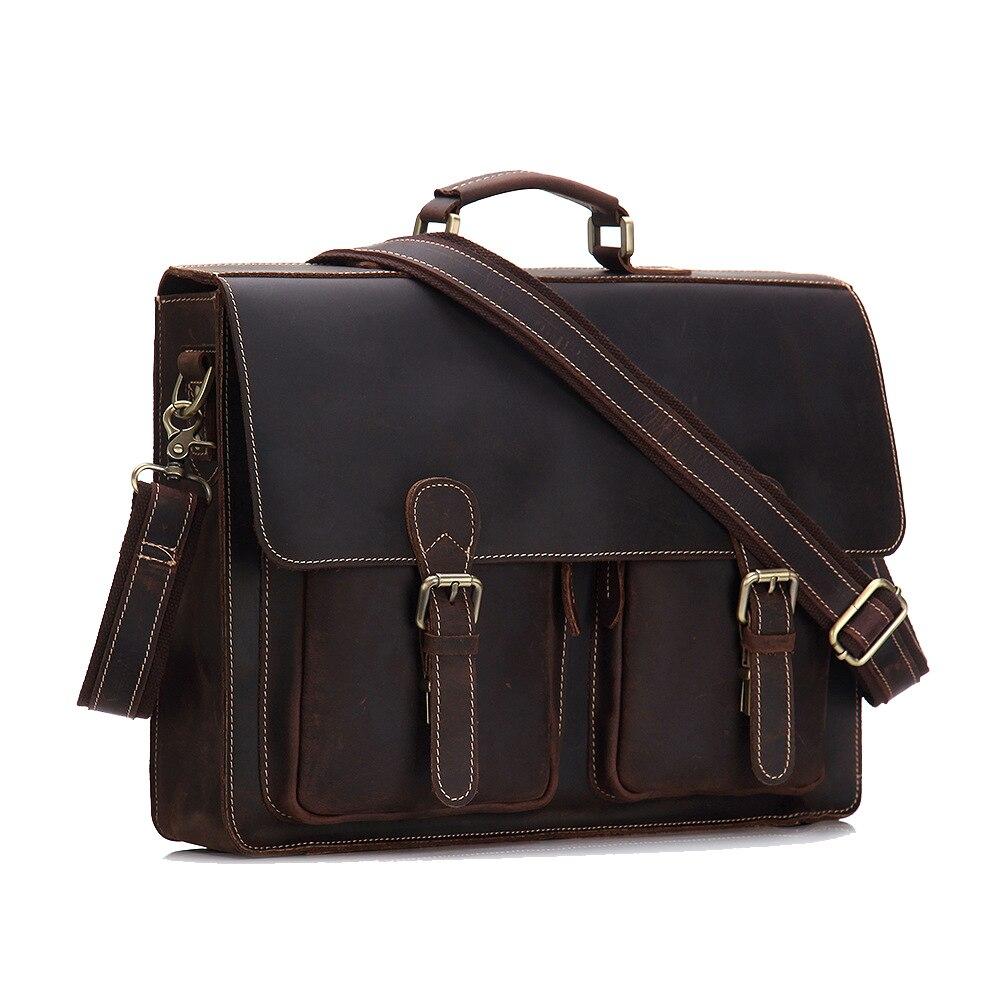 Men's Vintage Genuine Cowhide Leather Briefcase Cross Body Shoulder Sling Laptop Bag Handbag Portfolio For Male MS9006