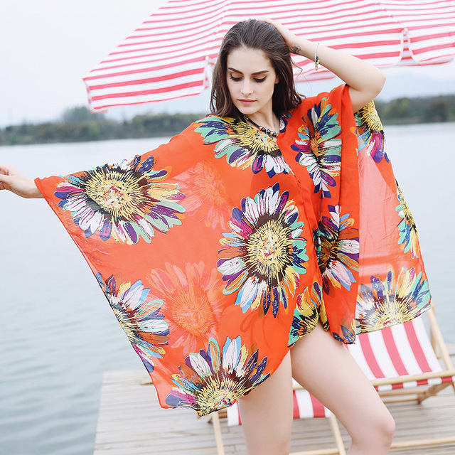 1118d695be 2017 Beach scarf Kaftan Beach Sarongs Sexy Cover-Up Chiffon Bikini Swimwear  shawl Tunic Swimsuit Bathing Suit Cover Ups Pareo