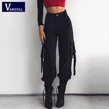 Vangull 2019 Spring Streetwear Cargo Pants Women Casual Joggers Black High Waist