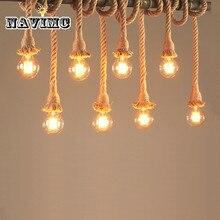 Ретро Винтаж веревка подвесной светильник лампа Лофт Творческий Промышленный Эдисон лампа американский стиль