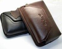 Envío Libre Universal Horizontal ceñe el cuero auténtico bolso de La Bolsa de Funda para Nokia Lumia 625 1020-negro y marrón