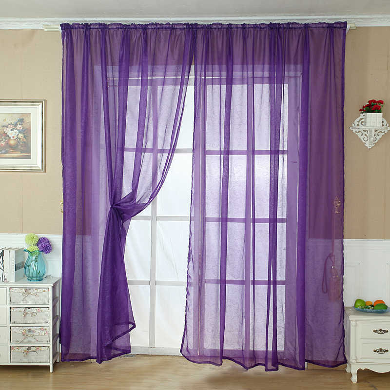 ISHOWTIENDA Solid Color Tulle Door Window Curtain Drape Panel Sheer Scarf Valance BN  Living Room Bedroom Kitchen  Hot Selling