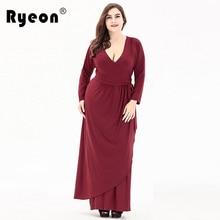 c0bead73e576 Ryeon Plus Size Long Maxi Dress Autumn Winter Women Dress Tunic Sexy V Neck  Long Sleeve