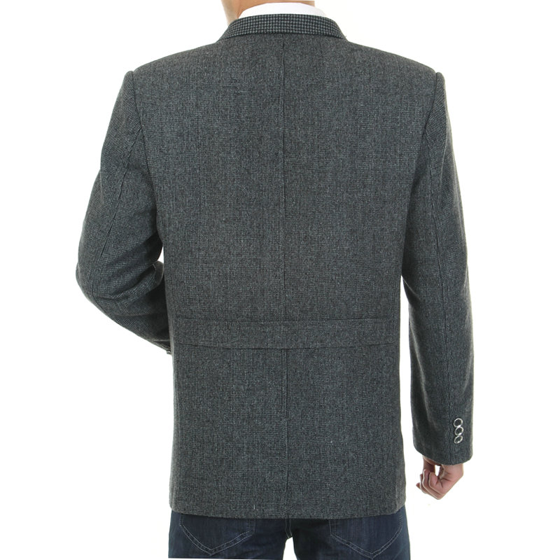 WAEOLSA Men Gray Blazers Fashion Tweed Blend Suit Jackets Man Casual Blazer Male Garment Chinese Apparel With Pockets (4)