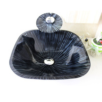 High Quality Modern Square Tempered Glass Bathroom Sink Bowl With Waterfall Faucet Water Drain And Mounting
