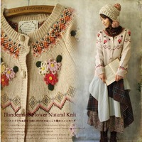Autumn Winter Mori Girl Sweet Sweater Women S Floral Embroidery Knit Single Breasted Female Knitting Soft