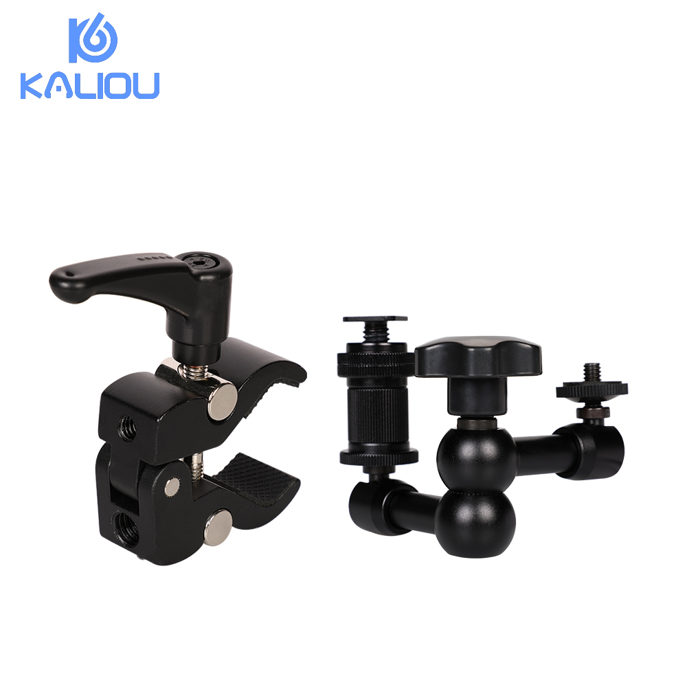 Kaliou Adjustable 7 Inch Articulated Magic Arm + S Super Clamp For Camcorder LCD Monitor LED Light DSLR Camera Flash Bracket-in Photo Studio Accessories from Consumer Electronics