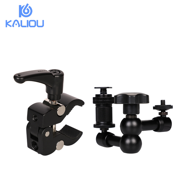 Kaliou Adjustable 7 Inch Articulated Magic Arm + S Super Clamp For Camcorder LCD Monitor LED Light DSLR Camera Flash Bracket