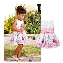 Little Girls Dresses Princess Disfraz Princesa Floral Printing Kids Dresses Wedding Birthday Little Girls Dresses