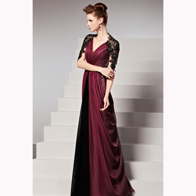 Retro Burgundy Long Evening Dresses 2017 Half Sleeves V Neck Chiffon Black  Applique Formal Party Gowns dd1324a7be0c