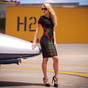 Image 3 - Ocstrade נשים Vestidos תחבושת שמלת 2020 חדש קיץ צבע בלוק מועדון מסיבת Bodycon שמלה אלגנטית באיכות גבוהה HL תחבושת שמלה