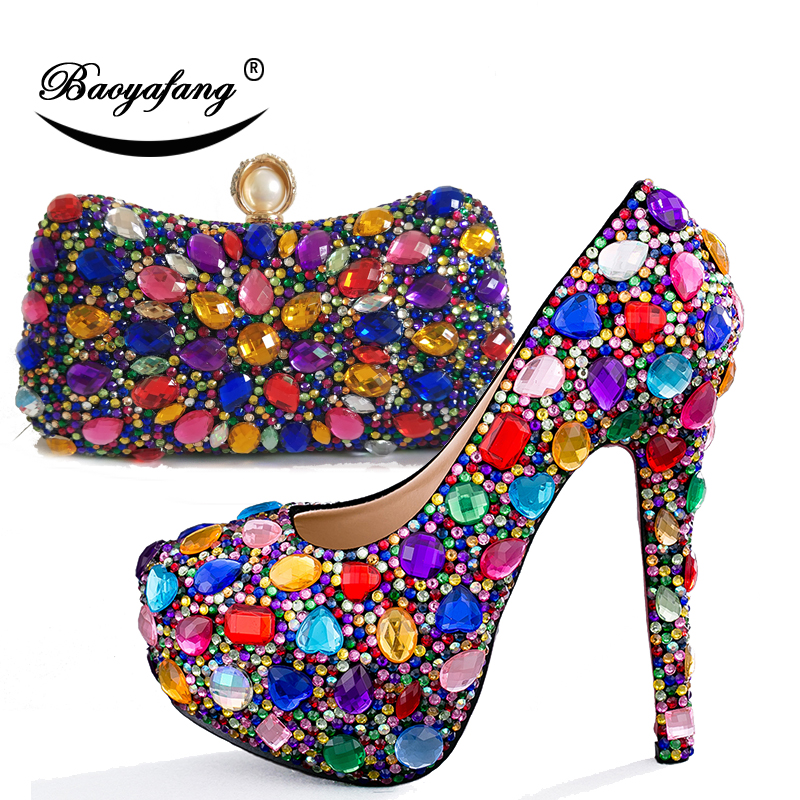 Multicolored Womens wedding shoes with matching bags High heels Party dress shoe and purse sets Ladies