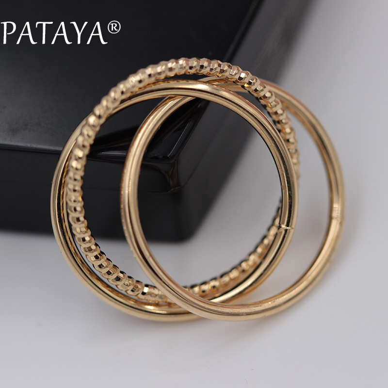 PATAYA New Arrivals Exclusive 585 Rose Gold Vintage Unique Tricyclic Rings Women Smooth Ring Simple luxury Jewelry Accessories