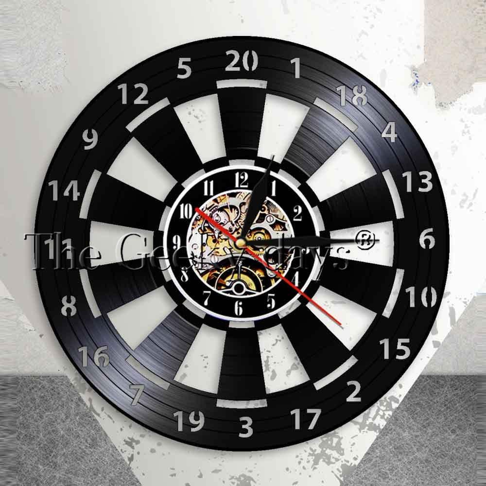 US $16 91 11% OFF|Darts Game Dart Board Wall Clock Mancave Game Room Bar  Pub Wall Decor Arrow Target Aim Game Bullseyes Vinyl Record Wall Clock-in
