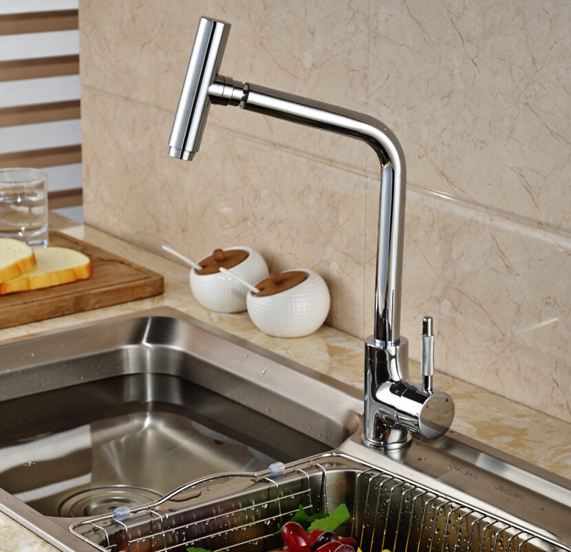 Unique Design Rotation Swivel Spout Kitchen Sink Faucet Deck Mount Wash  Basin Mixer Taps Chrome Finish Part 4