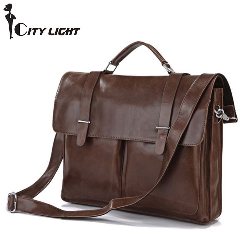 Fashion men Briefcase Genuine leather Business Shoulder Bags Quality Stylish Brand Handbags Brand Tote Bag for Ma 7100