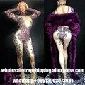 Frete grátis DHL Sexy Cristal Rhinestone Jumpsuit Celebridade Bodysuit Desgaste Desempenho Noite Mulheres Do Desgaste da Dança Traje Do Estágio Cantora Roupa