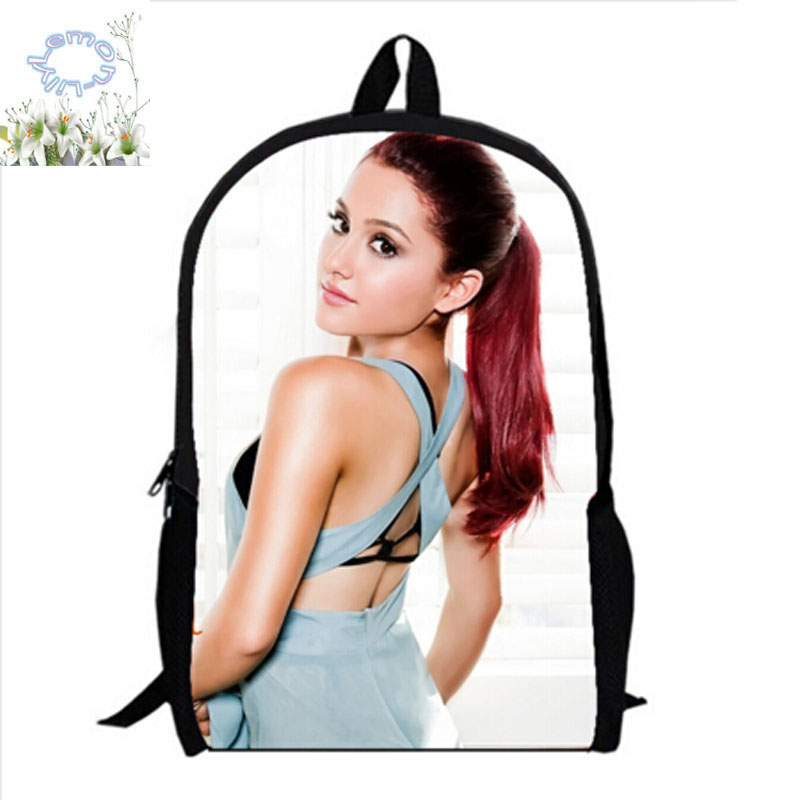 16Inch Ariana Grande Backpack Double Zipper Backpack Mochilas Mujer teenage Schoolbag Mochila Escolar Kid Free Shipping A090 hot sale 10 style winx club backpack girls mochila escolar children school bag customized mochilas mujer kids free shipping b002