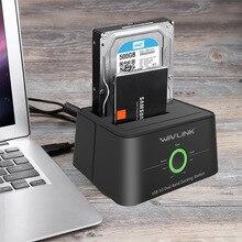 Estación de acoplamiento de disco duro externo Wavlink Dual Bay SATA a USB3.0 para funciones de 2,5/3,5 pulgadas HDD/SSD clon fuera de línea/copia de seguridad/UASP