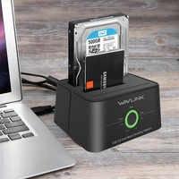 Station d'accueil pour disque dur externe Wavlink double baie SATA vers USB3.0 pour fonctions 2.5/3.5 pouces HDD/SSD hors ligne Clone/sauvegarde/UASP
