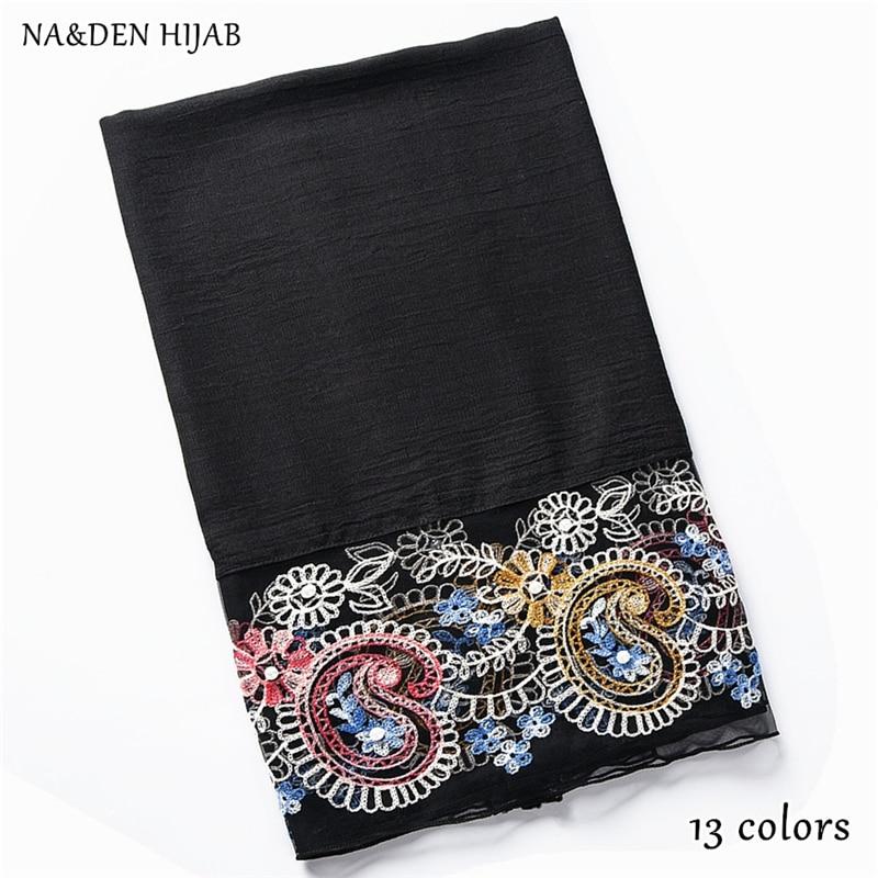 NEW embroider flower lace hijab scarf pearl decor shawl fashion luxury women scarves shawls brand soft muffler islamic hijabs