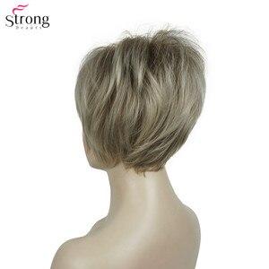 Image 4 - Strongbeauty 합성 가발 여성 부르고뉴/금발 자연 가발 짧은 스트레이트 가발