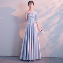 Short Sleeve Evening Dress Elegant Illusion Shining Sequins O-neck Formal Prom Gowns A-line Champagne Long Party Dresses E029