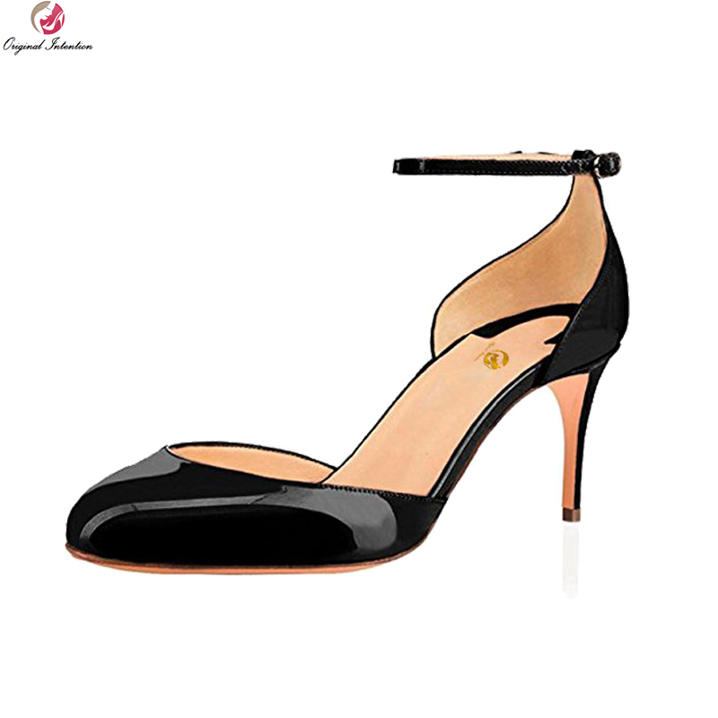 Original Intention 2018 New Elegant Women Sandals Elegant Round Toe Thin Heels Sandals Black Nude Shoes Woman Plus US Size 4-15 hot selling sexy sloid thin heels sandals woman new desig lace red white black sandals peep toe elegant for women free sipping
