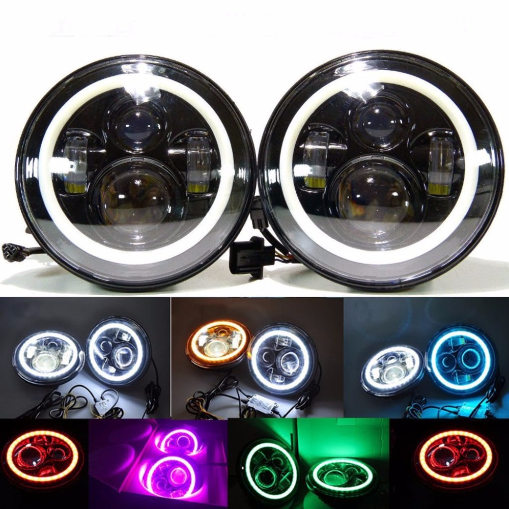 1 Set Black projector headlight 7inch Auto Headlamp with Halo Ring for Jeep Wrangler Unlimited Rubicon Sahara JK Harley