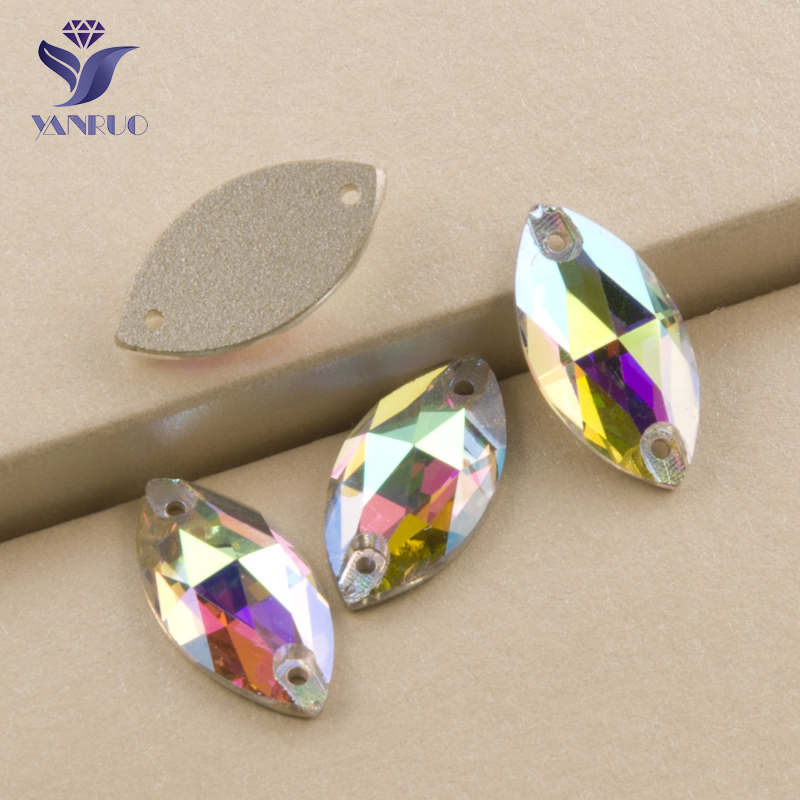 YANRUO #3223 All Sizes AB Rhinestone Sewing Glass Stones Strass Flatback Navette Sew On Crystal For Dress