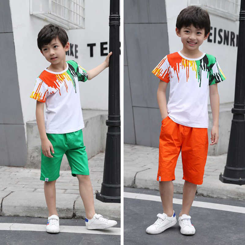 e02d9622fcff ... baby boy clothes summer season Kids Short Sleeve T-shirt+Cropped Pants  Rainbow Print ...