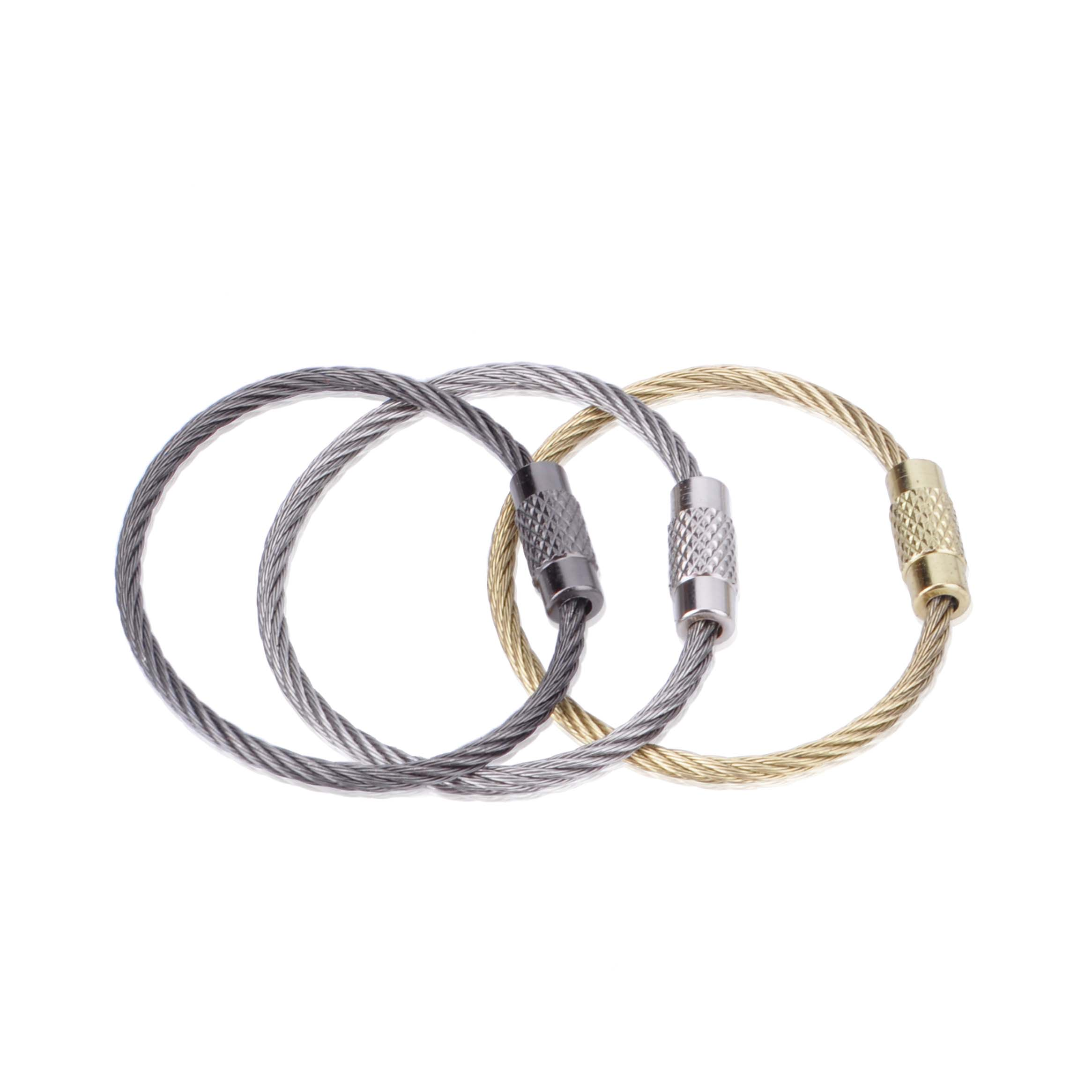 Stainless Steel Golden Black Wire Buckle Creative Keychain Key Practical Automotive Ts 10pc